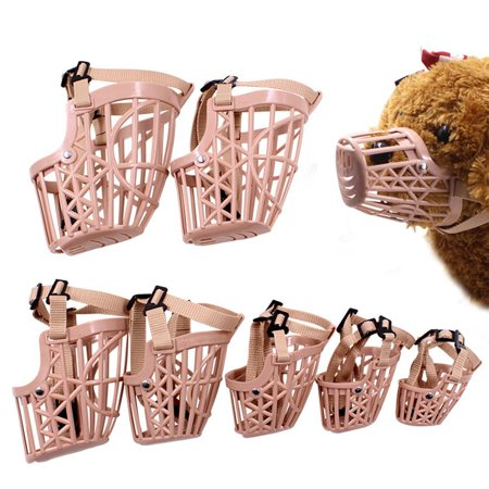 Basket Dog Muzzle Adjustable Leather Strap Pet Dog Grooming No Bark Bite Soft Plastic Dog Mouth Cover - image 2 de 7