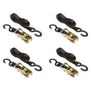 """4-Pack of 16 ft. x 1"""" Cargo Ratchet Straps with S-Hook Ends"""