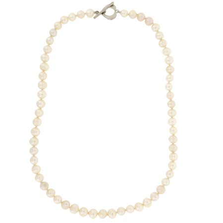 Pearl Necklace Cream Silver Heart Clasp 17