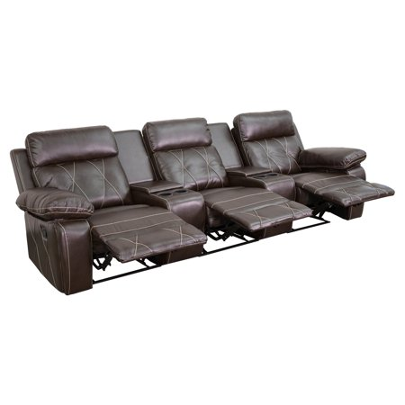 Flash Furniture Reel Comfort Series 3-Seat Reclining Leather Theater Seating Unit with Straight Cup Holders