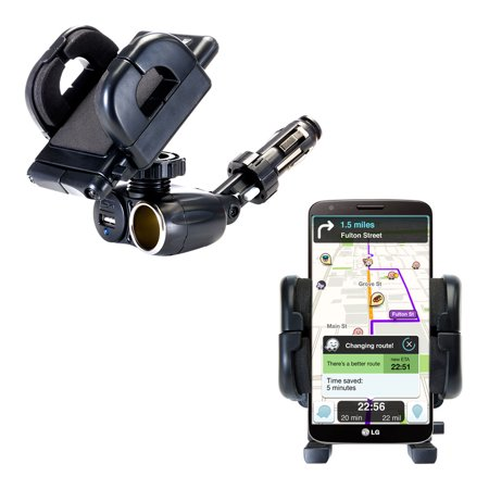 Dual USB / 12V Charger Car Cigarette Lighter Mount and Holder for the LG Mini