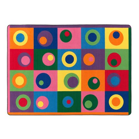 Flagship Carpets Silly Circles Blue/Yellow Area Rug