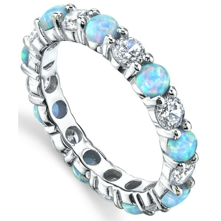 - Sterling Silver 925 Baby Blue and Pink Fire Created Opal and Cubic Zirconia Eternity Ring Wedding Band 3.5mm