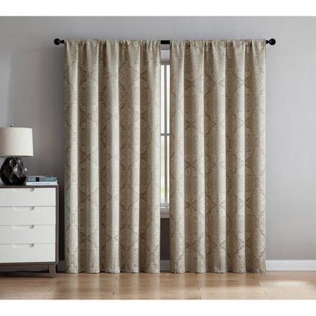 Better Homes and Gardens Medallion Jacquard Rod Pocket Curtain Panel, Multiple Colors and Sizes Available