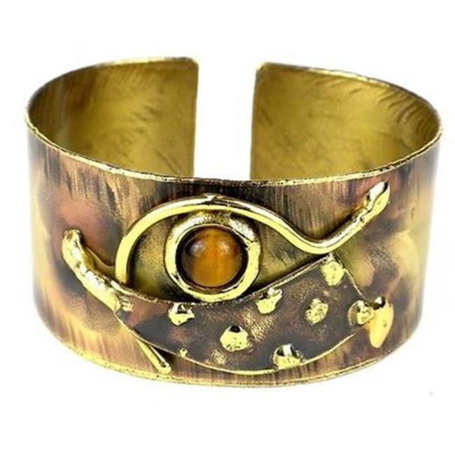 Brass Images Tucked Tiger Eye Brass Cuff