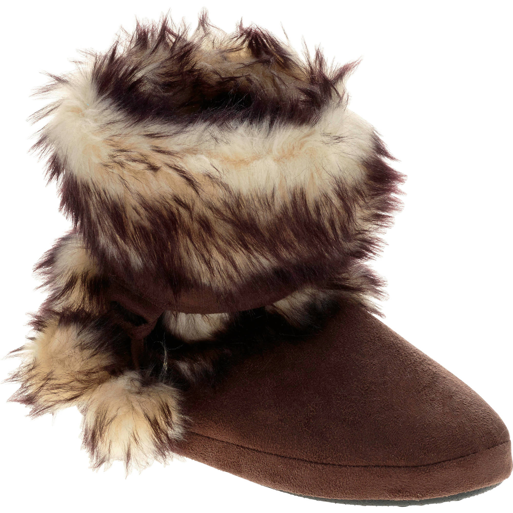 Girls' Suede Leopard Fur Slipper Boot