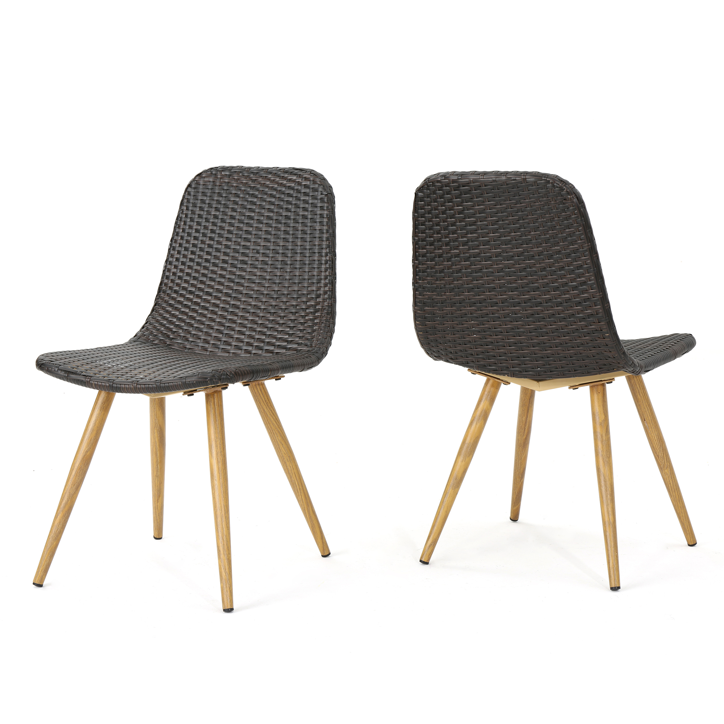 Rattan Chair Metal Legs: Gilda Outdoor Wicker Dining Chairs With Wood Finished