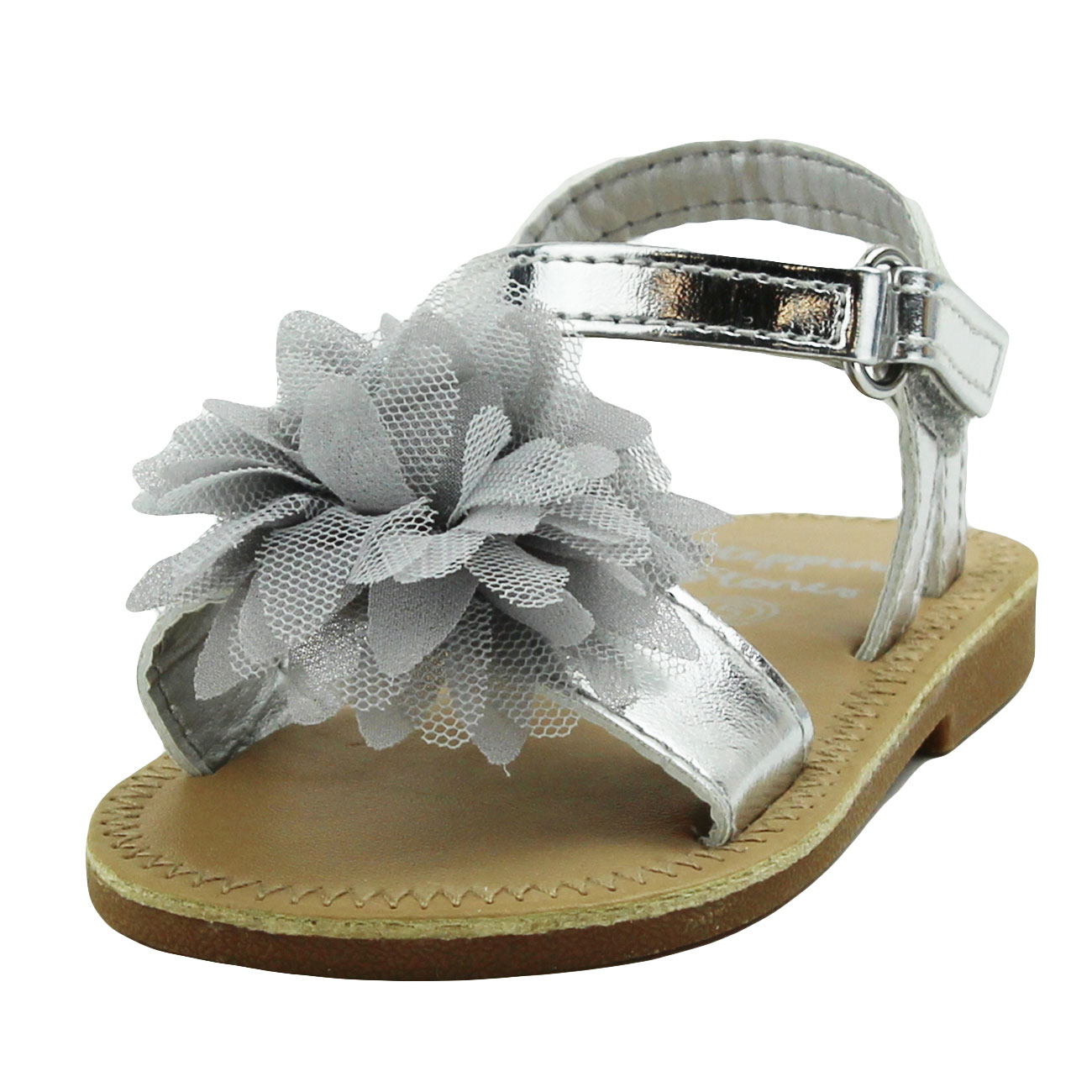 ... Girls Gladiator Silver Sandals with Flower and Back Straps Girls  Strappy Sandals For Casual or Dress Open Toe Summer Sandals Infant Toddler  Kids Shoes ... 46f72afd2f86