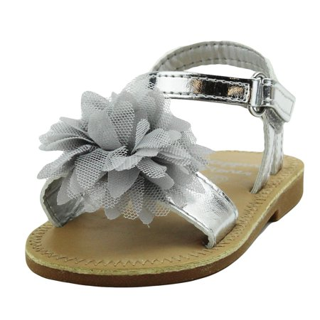 Stepping Stones Little Girls Gladiator Silver Sandals with Flower and Back Straps Girls Strappy Sandals For Casual or Dress Open Toe Summer Sandals Infant Toddler Kids Shoes for Children Slide Size 3