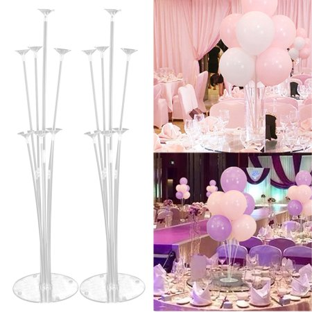 TSV 2-PACK 70cm Clear Balloon Column Base Plastic Balloons Stand Wedding Birthday Decor