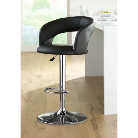 Astonishing Studio 55D Groove Black Faux Leather Adjustable Swivel Bar Stool Lamtechconsult Wood Chair Design Ideas Lamtechconsultcom