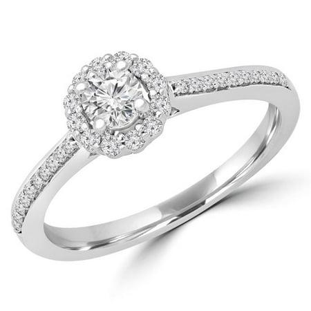 Majesty Diamonds MD190101-3 0.3 CTW Round Diamond Halo Engagement Ring in 14K White Gold - Size 3 - image 1 of 1