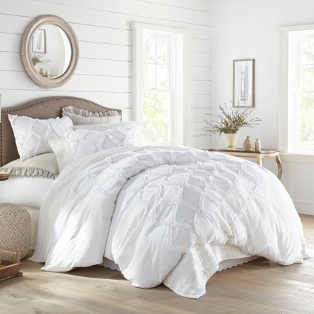 Stone Cottage Anne Ruffle Ogee White King Duvet Cover Set
