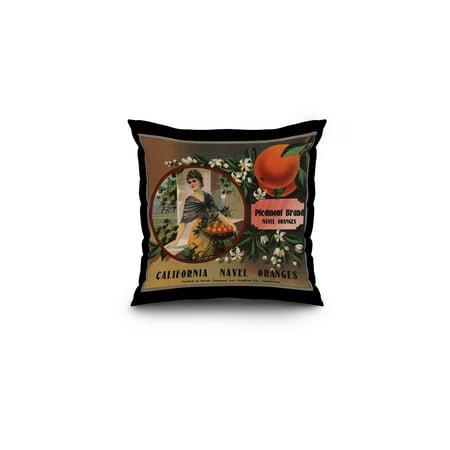Piedmont Brand   Pomona  California   Citrus Crate Label  16X16 Spun Polyester Pillow  Black Border