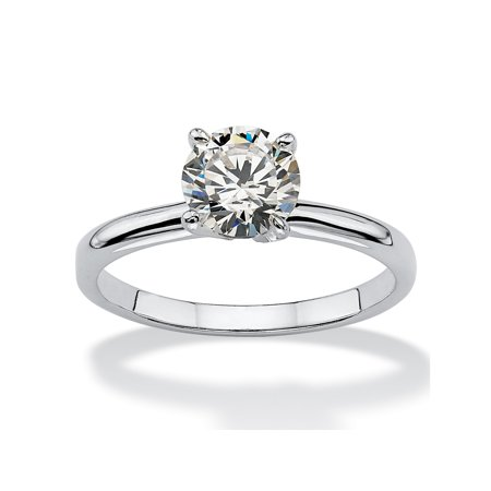 1.08 TCW Round Cubic Zirconia Sterling Silver Bridal Engagement Solitaire (Solitaire Engagment Ring)