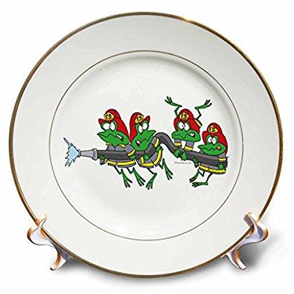 3dRose Funny Firefighter Froggy Frogs, Porcelain Plate, (Fully Porcelain)