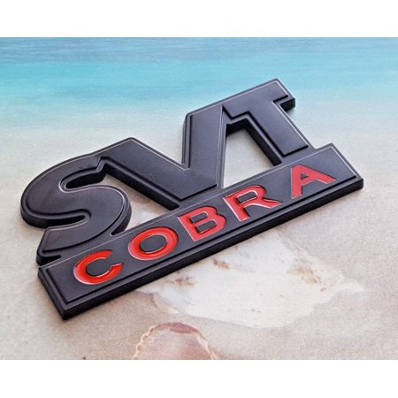 Black Red Metal SVT Cobra Emblem Fender Badge Sticker Decal For Ford Mustang