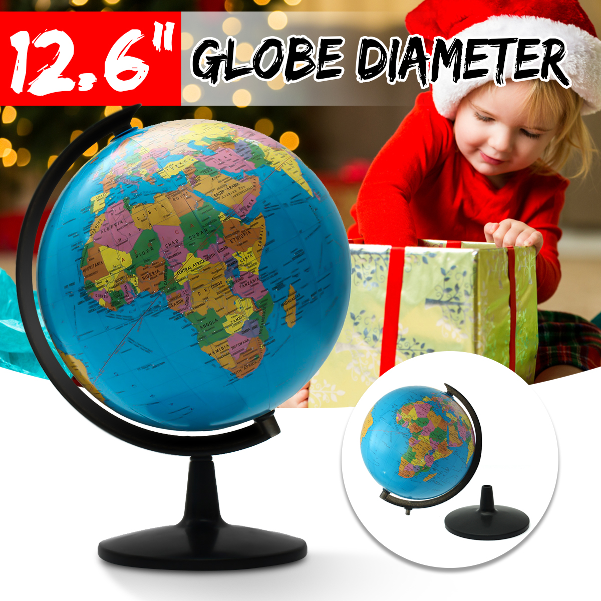 Large 12.6''Home Rotating World Earth Globe Map Geography Education Desktop Decor Xmas Birthday Gift by