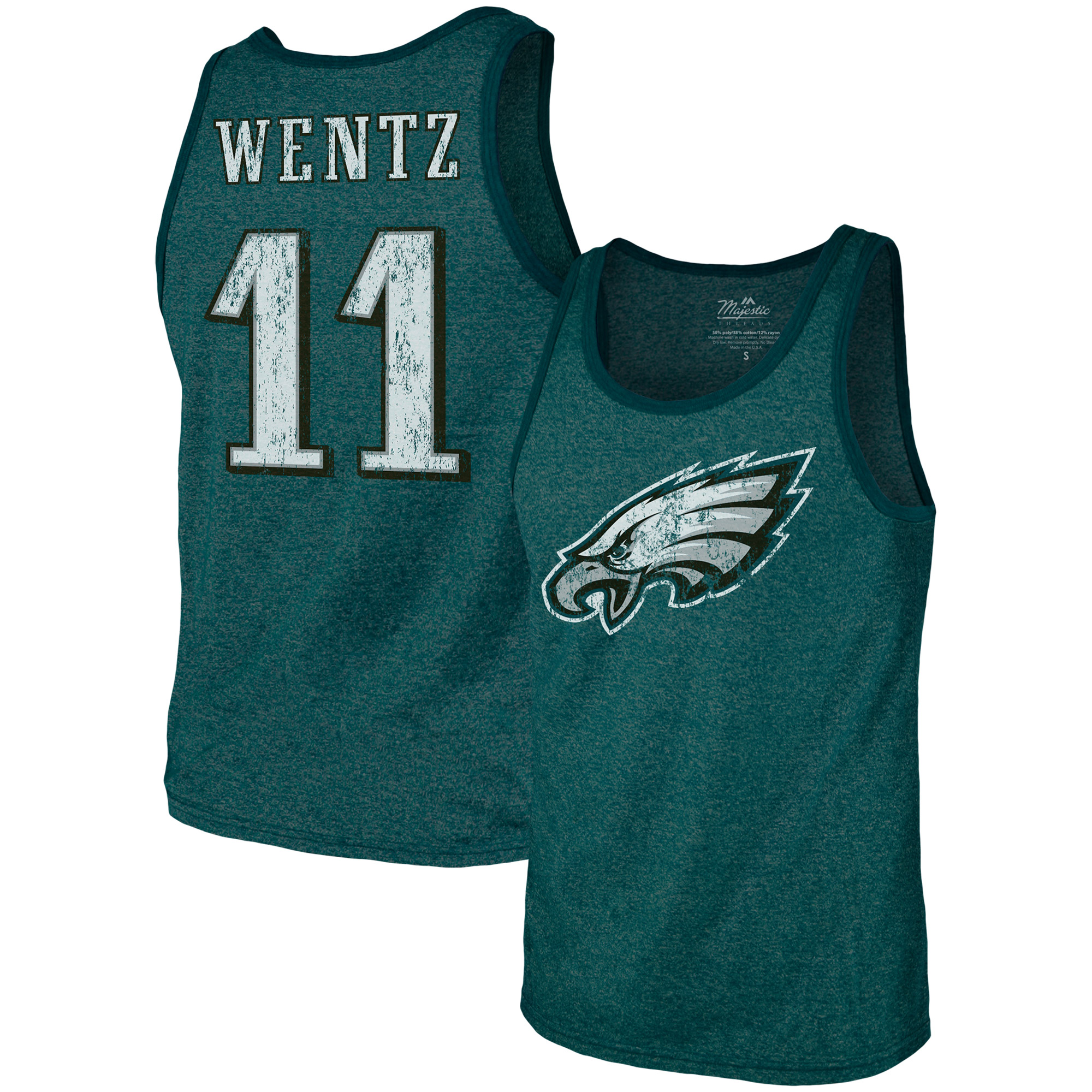 Carson Wentz Philadelphia Eagles Majestic Threads Tri-Blend Name & Number Tank Top - Midnight Green