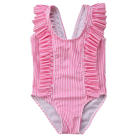 Infant Baby Toddler Girls Sleeveless Stripes Ruffle One Piece Swimsuit Beach Sunsuit