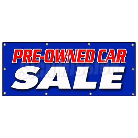 36  X96   Pre Owned Car Sale Banner Sign Used Auto Automobile Buy Here We Finance