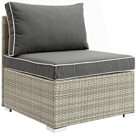 Modern Contemporary Urban Design Outdoor Patio Balcony Garden Furniture Sofa Middle Chair, Sunbrella Rattan Wicker, Dark Grey Gray