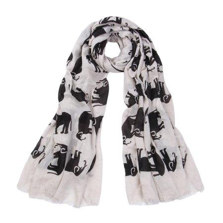 Elephant Wrap - Premium Elephant Print Frayed End Scarf Wrap