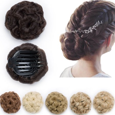 Synthetic Hair Weaves (S-noilite Elegant Chignon Clip in Hair Bun Extension Donut Claw Jaw Updo Synthetic Combs Curly Weave Hair Scrunchies medium brown,65g )