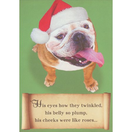 Recycled Paper Greetings Bulldog Santa Christmas Card