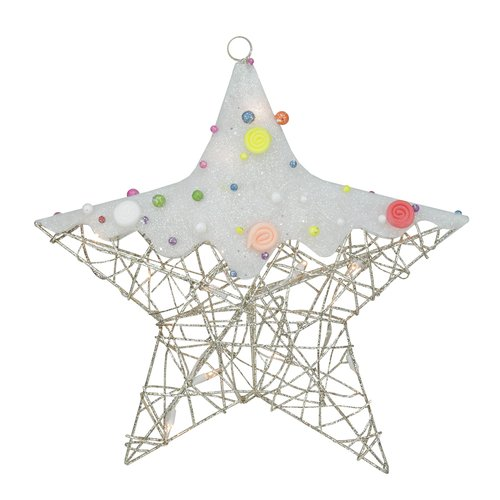Northlight Seasonal Lighted Glittered Rattan Candy Covered Hanging Star Christmas Window Decoration