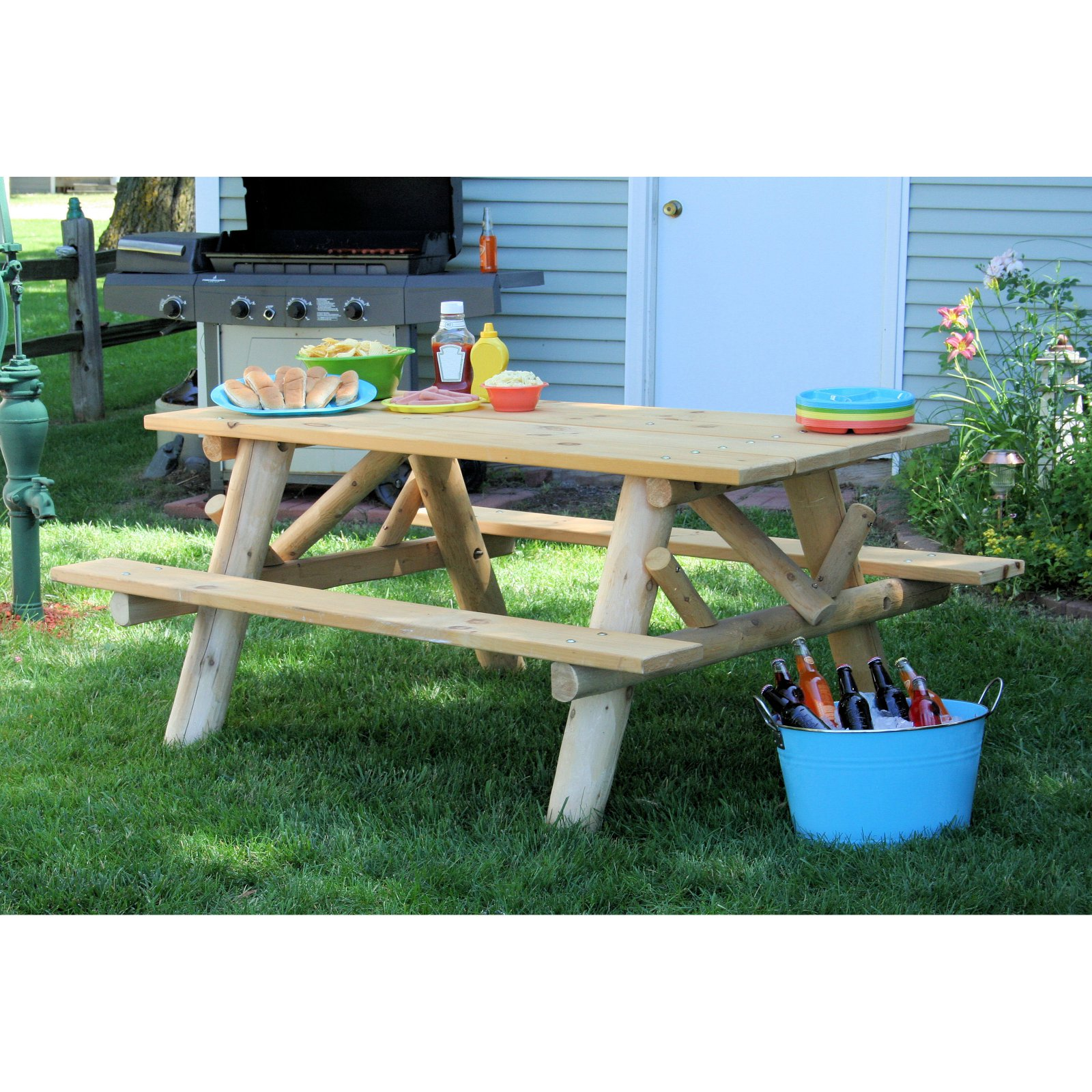 Lakeland Mills 6' Picnic Table with Attached Benches