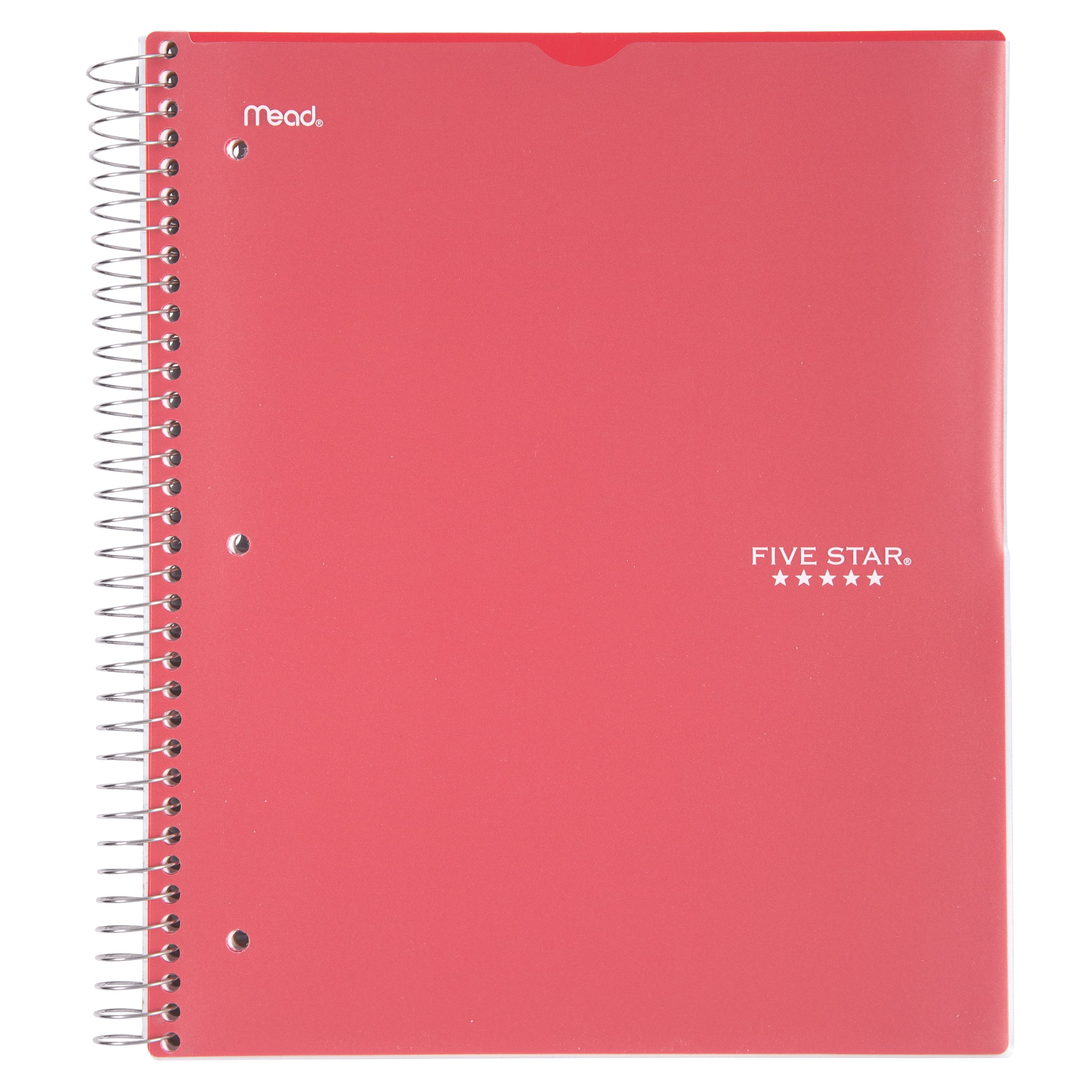 Five Star Customizable Wirebound Notebook, 3 Subject, College Ruled, Assorted Colors (08687)
