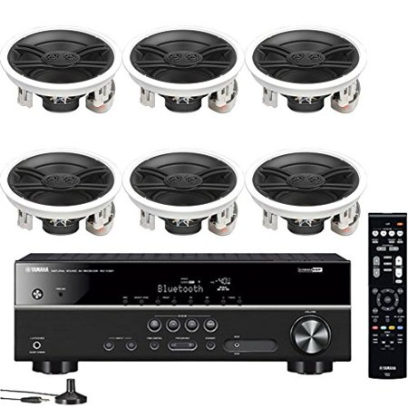 Yamaha 5.1-Channel Wireless Bluetooth 4K A/V Home Theater Receiver + Yamaha Custom Install 3-Way 100 watts Speaker with Dual Tweeters & 6-1/2