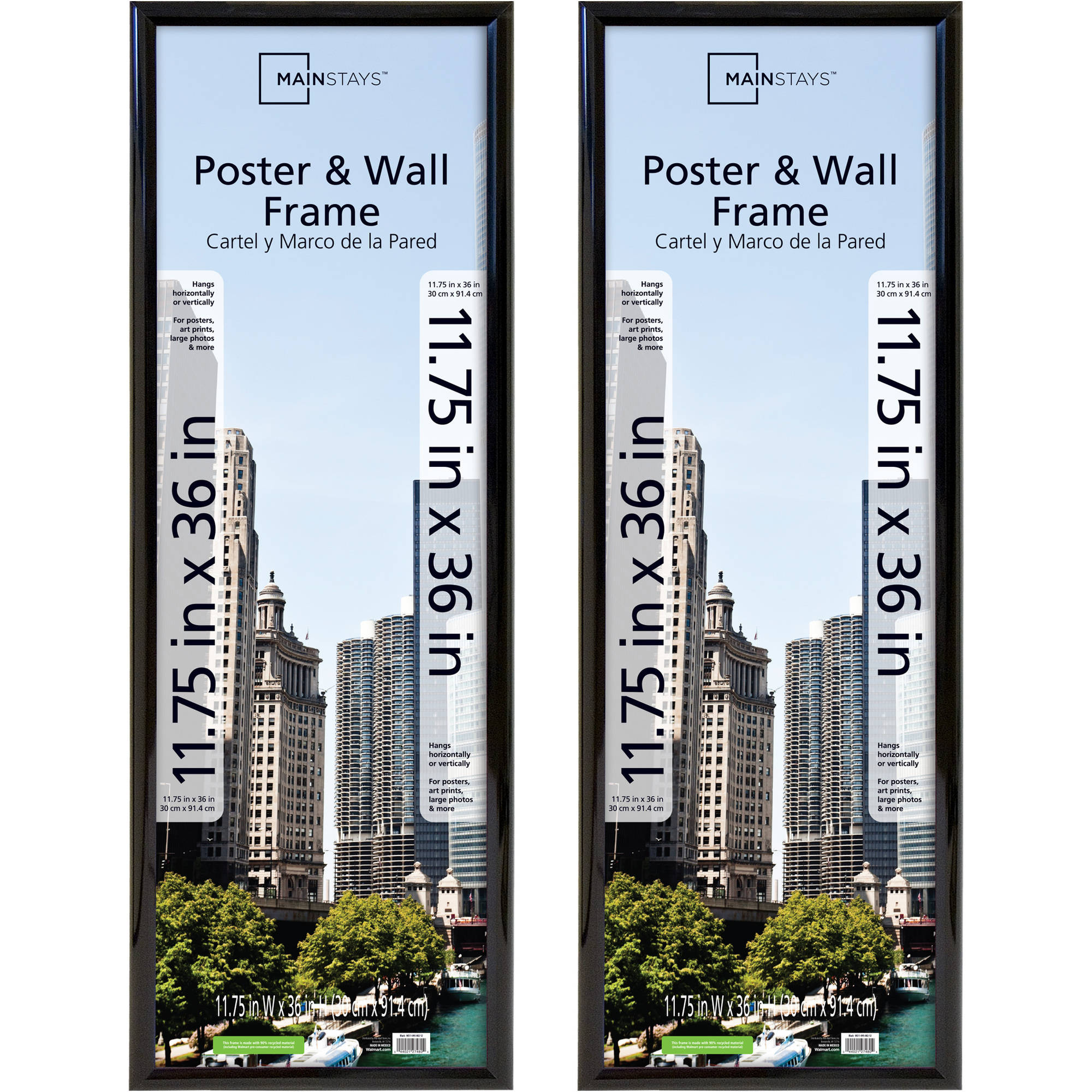 Mainstays 11.75x36 Trendsetter Poster and Picture Frame, Black, Set of 2