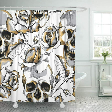 PKNMT Silver Black with Gold Skull and Rose Flowers on White Death Floral Halloween Waterproof Bathroom Shower Curtains Set 66x72 - Skull Flowers