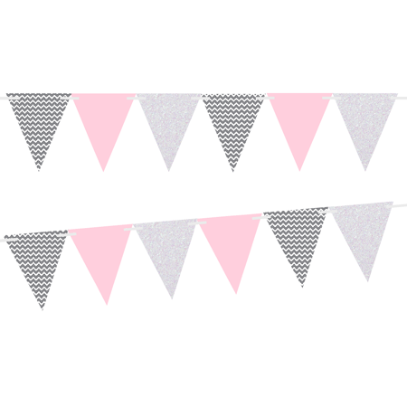 Grey Chevron/Solid Light Pink/White Glitter 10ft Vintage Pennant Banner Paper Triangle Bunting Flags for Weddings, Birthdays, Baby Showers, Events & Parties