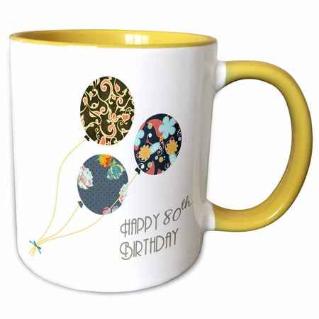 3dRose Happy 80th Birthday - Modern stylish floral Balloons. Elegant black brown blue 80 year old Bday - Two Tone Yellow Mug, 11-ounce (2 Year Old Birthday Ideas)