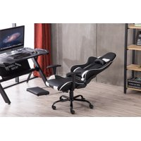 Ktaxon Racing Gaming Chair High Back Swivel Chair with Footrest Tier,Adjustable Height Office Chair Support for Lumbar and Back,Black & White
