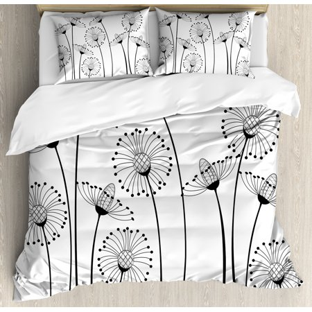 Black and White Duvet Cover Set, Meadow Flowers with Stylized Abstract Dandelions in Countryside Artwork, Decorative Bedding Set with Pillow Shams, Black White, by Ambesonne ()