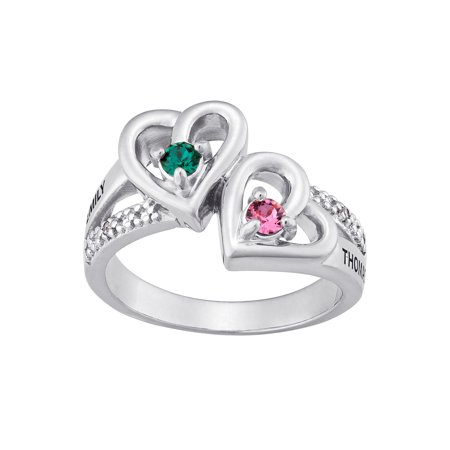 Personalized Sterling Silver Couples Heart Birthstone & Name Diamond Accent -