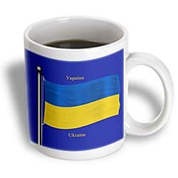 3dRose The flag of the Ukraine on a blue background with Ukraine in English and Ukrainian, Ceramic Mug, 15-ounce