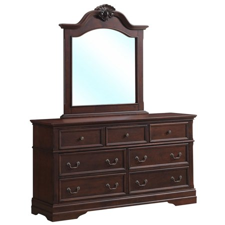 Gymax 7 Drawer Dresser Mirror Set Chest Cabinet Luxury Bedroom Furniture Storage Brown ()