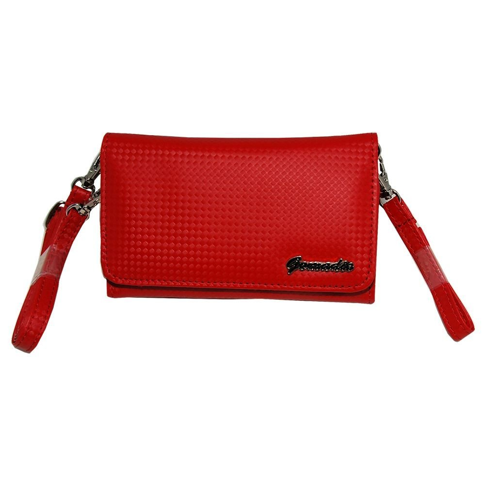 Gomadic Women Designer Red Stylish Handbag Carrying Case Purse sized for Mio devices with Shoulder_Hand Str