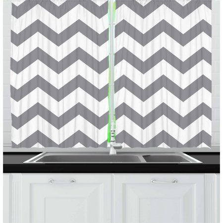 Grey Curtains 2 Panels Set, Grey and White Chevron Pattern Classic Geometrical Horizontal Zig Zag Stripes Retro, Window Drapes for Living Room Bedroom, 55W X 39L Inches, Grey White, by