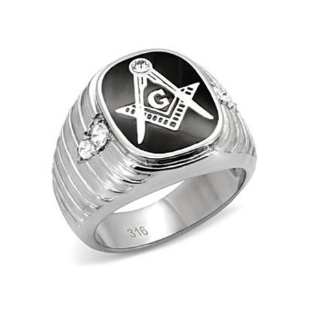 Stainless Steel Masonic Mason Logo in Simulated Onyx with CZ Mens Ring- Size 9