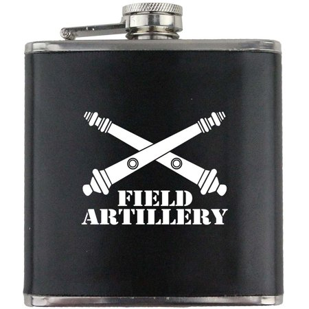 (Army Field Artillery Branch Military Stainless Steel Leather Wrapped 6oz. Flask)