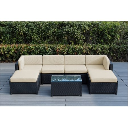 Fabulous Ohana Mezzo 7 Piece Outdoor Wicker Patio Furniture Sectional Conversation Set With Ottoman Uwap Interior Chair Design Uwaporg