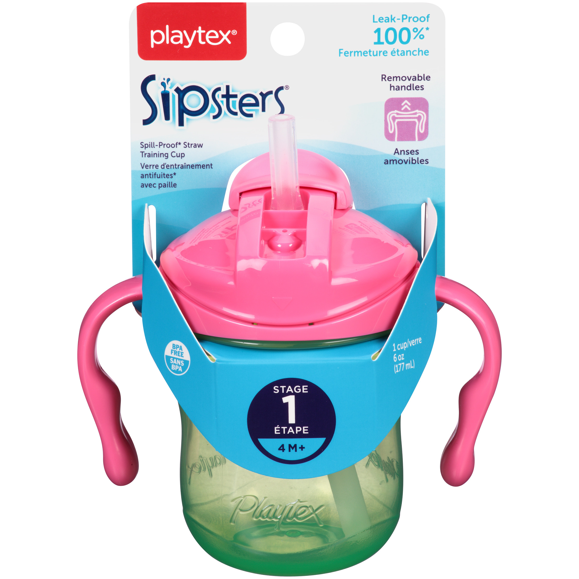 Playtex Sipsters Stage 1 Straw Trainer Sippy Cup 6oz 1-Pack Assorted Colors