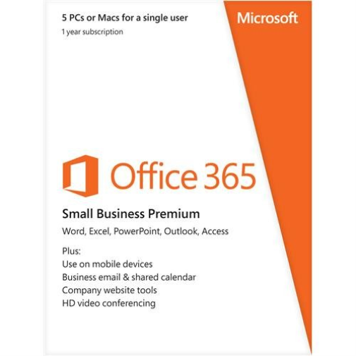 Microsoft Office 365 Small Business Premium 1 Year Subscription for Windows-Mac