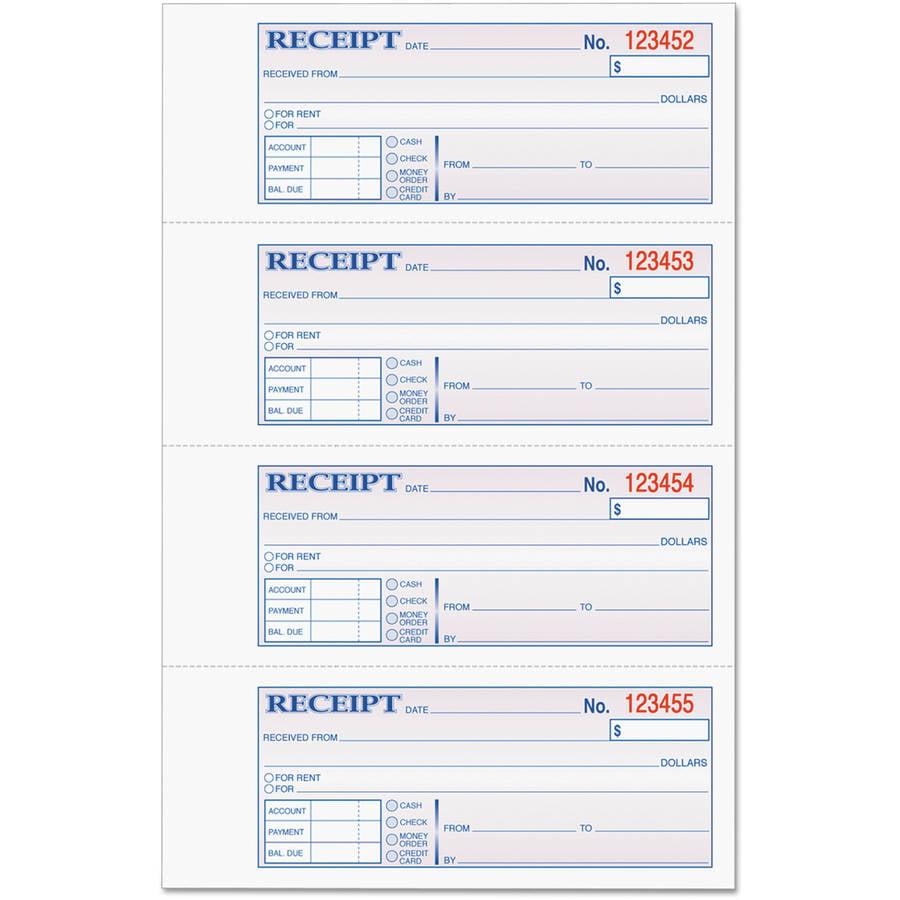 TOPS Money & Rent Receipt Books, 7-1/4 x 2-3/4, Carbonless 3-Part, 100 Sets/Book